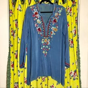 Johnny Was Embroidered Rayon Shirt